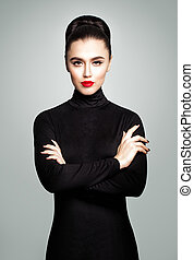Elegant Young Woman in Black Roll Neck Jersey Dress, Portrait