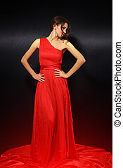 elegant young woman in red dress