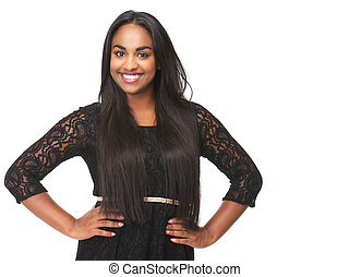 Elegant young woman smiling on isolated white background