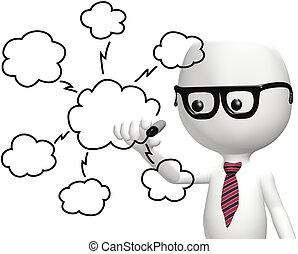 elegante, él, programador, dibujo, nube, informática, plan