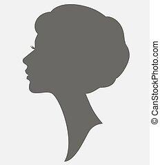 elegante, acconciatura, donna, silhouette, faccia
