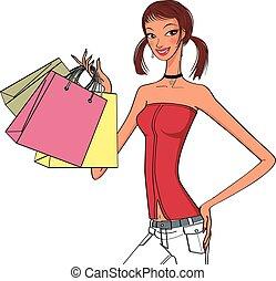 elegante, acquisto donne, presa a terra, borse