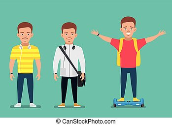elegante, adolescente, menino, em, diferente, poses., caricatura, character., apartamento, ilustração