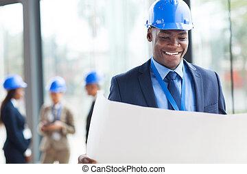 elegante, africano, construcción, hombre de negocios