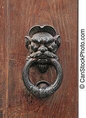 elegante, antigüidade, aldrava porta