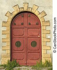 elegante, antigüidade, arco, porta dobro