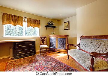 elegante, antigüidade, escritório, sala