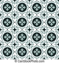 elegante, antigüidade, fundo, imagem, de, redondo, folha, espiral, caleidoscópio, pattern.