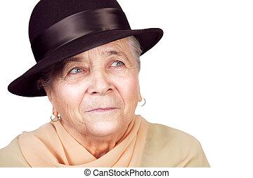 elegante, antigas, mulher sênior, com, chapéu