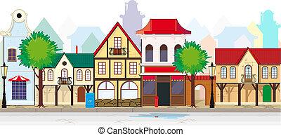 elegante, antigas, rua, de, um, cidade pequena