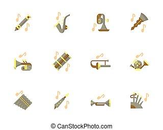 elegante, apartamento, desenho, instrumentos vento, vetorial, ícones