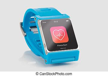 elegante, app, reloj, azul, icono, condición física, pantalla