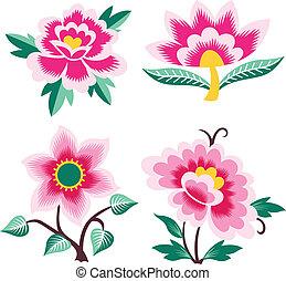 elegante, artístico, flor, illustratio