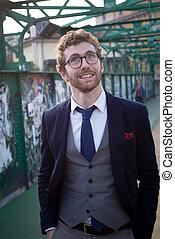 elegante, attraente, moda, hipster, uomo, stile di vita