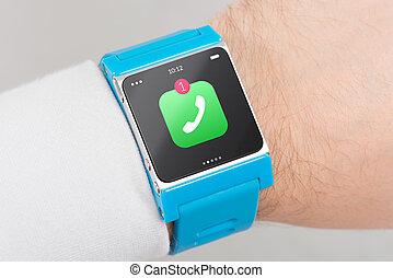 elegante, azul, encima de cierre, reloj