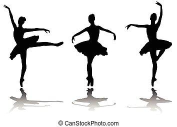 elegante, bailarinas, silhuetas