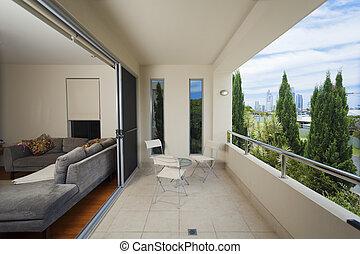 elegante, balcón