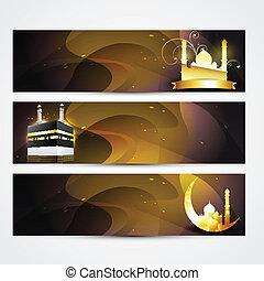 elegante, banderas, conjunto, ramadan