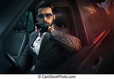 elegante, bello, azionamento uomo, uno, automobile