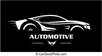 elegante, bianco, black., automobile