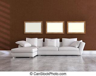 elegante, bianco, divano