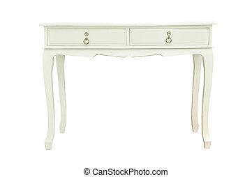 elegante, bianco, isolato, tavola