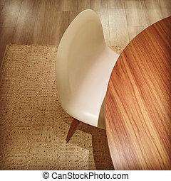 elegante, bianco, sedia, tavola rotonda