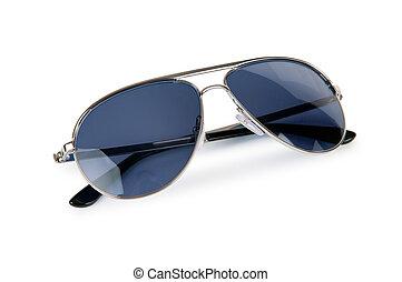 elegante, blanco, gafas de sol, aislado