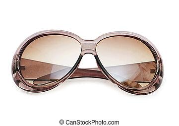 elegante, blanco, gafas de sol, aislado, plano de fondo