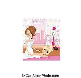 elegante, bonito, spa, menina, desfrutando, massagem