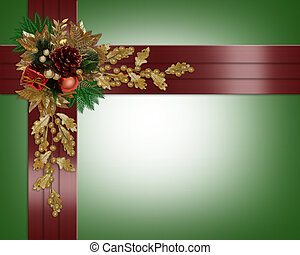 elegante, borda, fitas, natal, vermelho