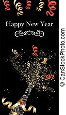 elegante, botella champaña, descorchar, en, año nuevo