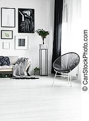 elegante, cadeira, janela, sob