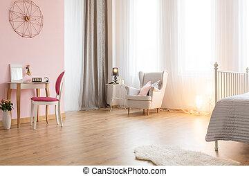 elegante, camera letto, tavola, abbigliamento
