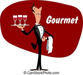 elegante, cameriere, con, wineglasses