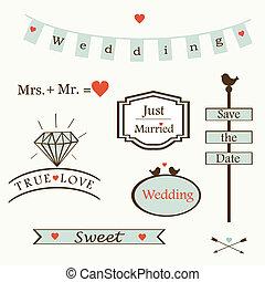 elegante, casório, elementos, logotipos, la