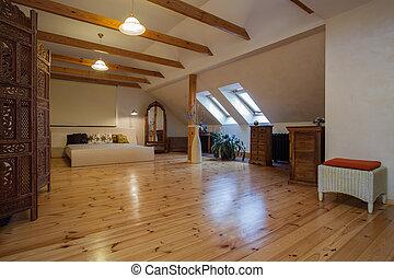 elegante, casa, -, nuvoloso, camera letto