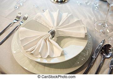 elegante, cena, matrimonio
