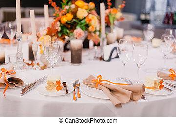 elegante, cena, mesa.
