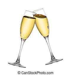 elegante, champaña, dos, anteojos