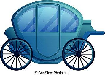 elegante, chariot, caricatura, estilo, ícone
