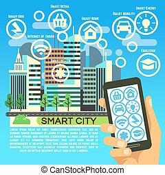 elegante, ciudad, vector, plano, concepto, con, internet, cosa, comunicación del negocio, y, iconos de tecnología