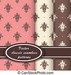 elegante, clássicas, padrões