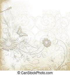 elegante, claro, casório, fundo, com, floral, ornamento