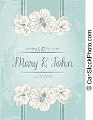 elegante, convite casamento, desenho, cartão cumprimento, banner., quadro, com, hibisco, flowers., vetorial, illustration.