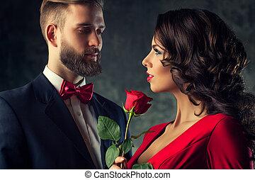 elegante, coppia, giovane
