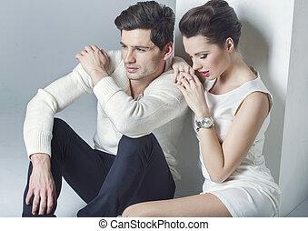 elegante, coppia, rottura