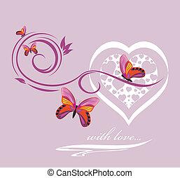 elegante, corazón, con, mariposas