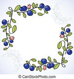 elegante, cornice, blueberries.