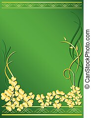 elegante, cornice, flora, verde